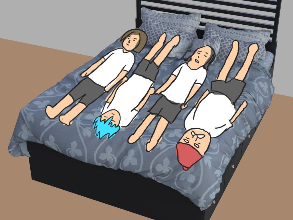 1 14 1024x768 - 【DQXI】ドラクエの勇者たちはひとつのベッドにどうやって寝るのか判明! 4人パーティーの寝方(笑)