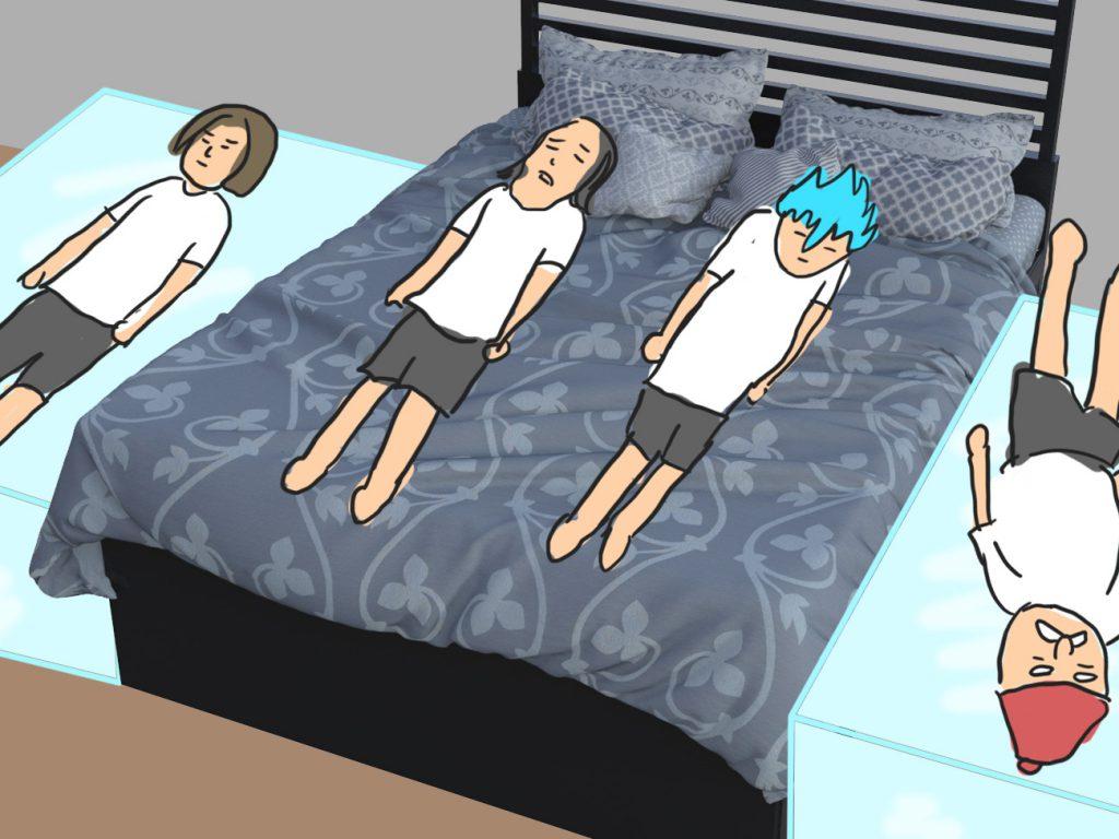 4 7 1024x768 - 【DQXI】ドラクエの勇者たちはひとつのベッドにどうやって寝るのか判明! 4人パーティーの寝方(笑)