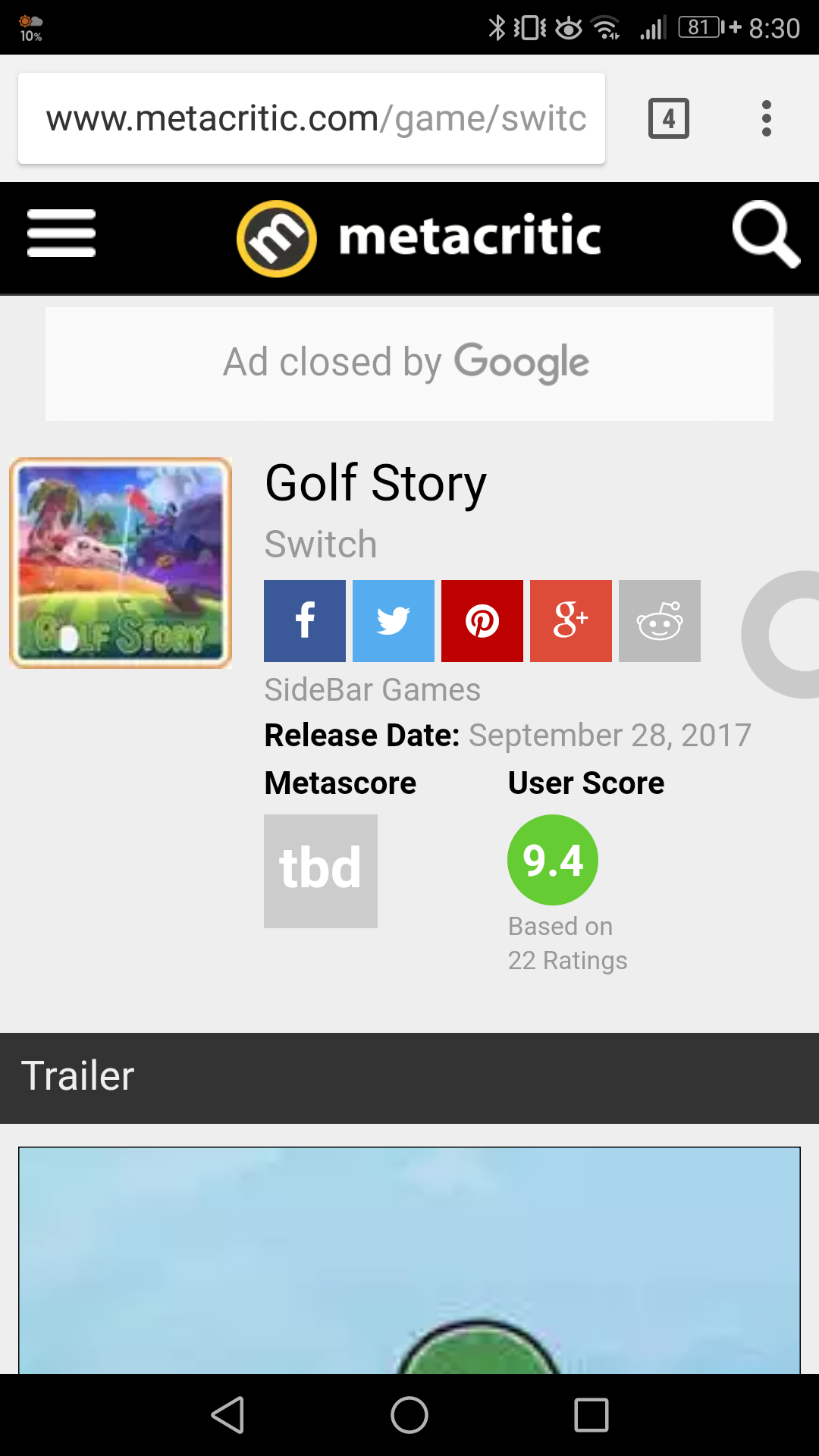 2GEaTe304UbaB - 【朗報】Switch独占のゴルフストーリー、ユーザースコアはなんと脅威の9.4!