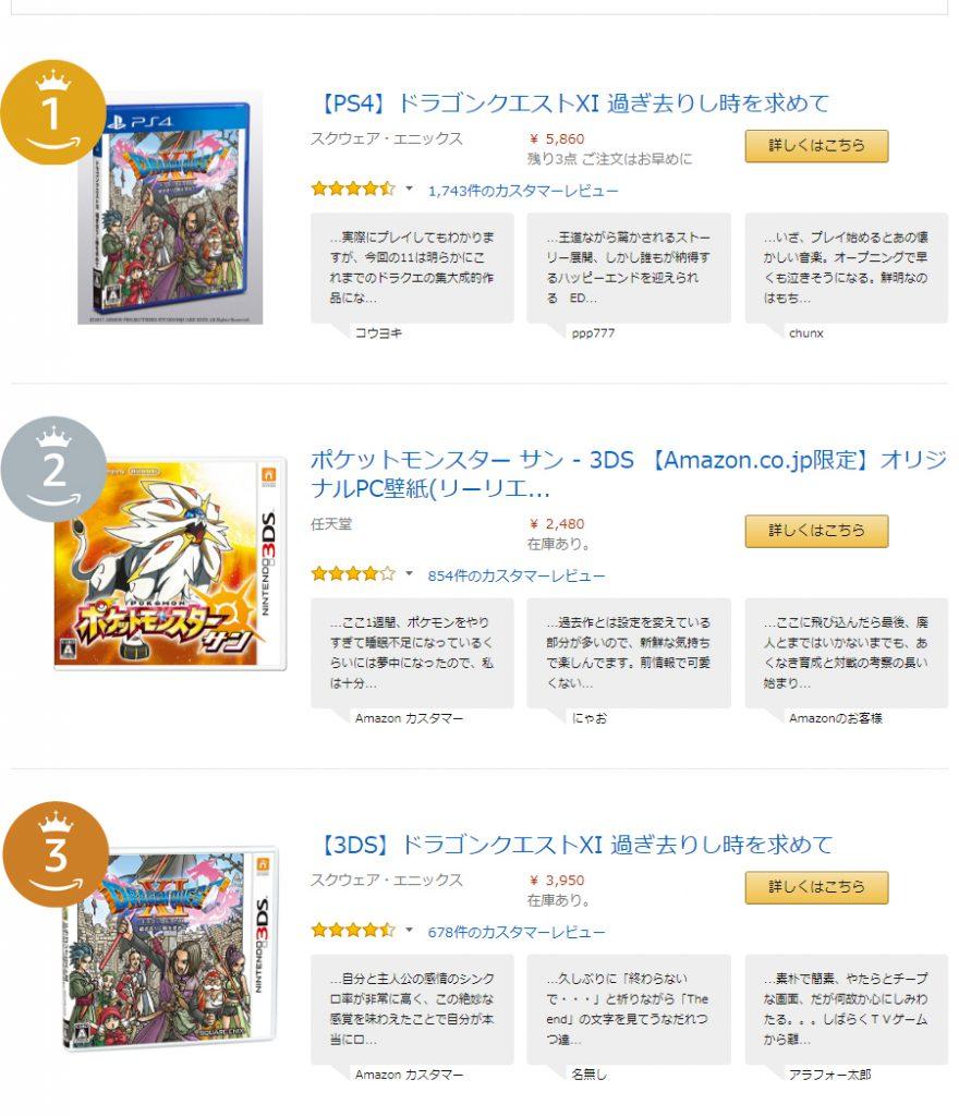 Amazon.co.jpで2017年最も売れたゲームはPS4版ドラクエ11!!!!!!!