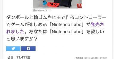 Nintendo Labo欲しいか聞いたところ一般人「フン!イラナイ!」が78%にソースあり