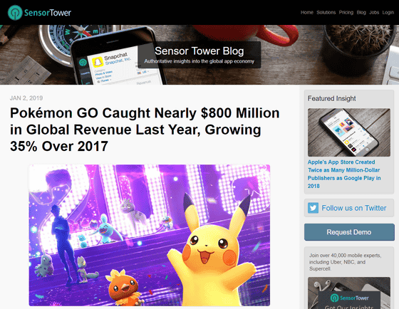 01-1 「ポケモンGO」が化物すぎる 2018年の収益は約860億円、2017年より35%増