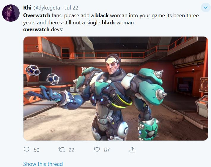 """1 43 - 【悲報】大人気洋ゲー『Overwatch』が""""白人男性""""の新キャラクターを実装して大炎上"""