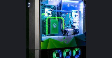 1 49 384x200 - 全家庭用ゲーム機とゲーミングPCを一台に融合させた究極のパソコンが登場。PS4ProとXbox One、スイッチを本格水冷PCにドッキング