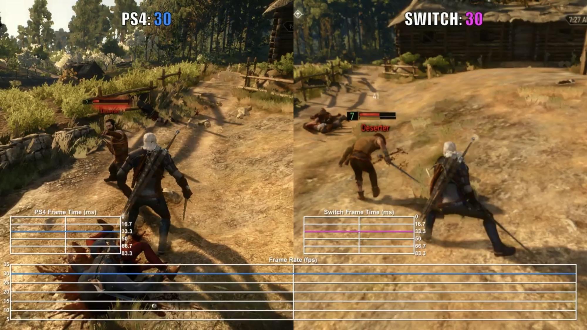 Hnel5oR - ウィッチャー3のSwitch vs PS4のフレームレート比較が到着。30fpsで安定していることが判明!