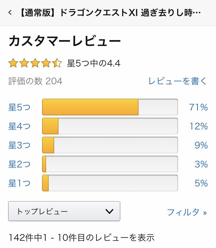 iwj382M - 【Amazonレビュー】ドラクエ11S→☆4.4、ペルソナ5R→☆3.5