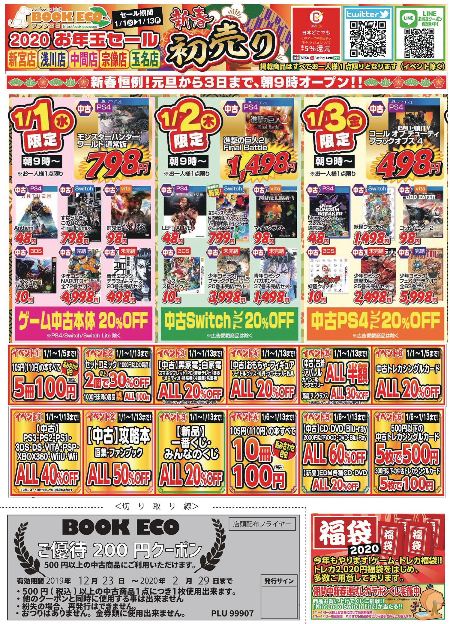 20200101digest - 【朗報】PS4の「アンセム」「レフトアライブ」「Newガンダム」が48円!【ダイソーより安い】