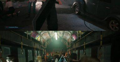 a7498966 384x200 - 【FF7R】電車内でバカでかい剣を背負ってるクラウドと腕にガトリングつけてるバレットwww