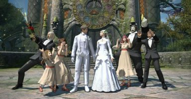 b1d82812 s 384x200 - 【悲報】FF14民「他人のエタバン(ゲーム内の結婚式)に白いドレス着てくる非常識なメスキャラ」で大論争が起こってしまう