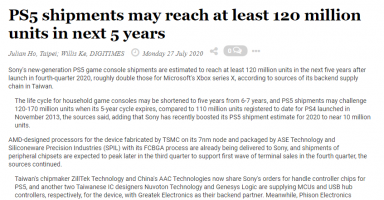 1 5 384x200 - 台湾サプライチェーン「PS5の出荷台数は5年で1.2~1.7億台になる見込み」
