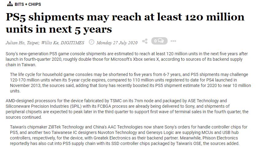1 5 - 台湾サプライチェーン「PS5の出荷台数は5年で1.2~1.7億台になる見込み」