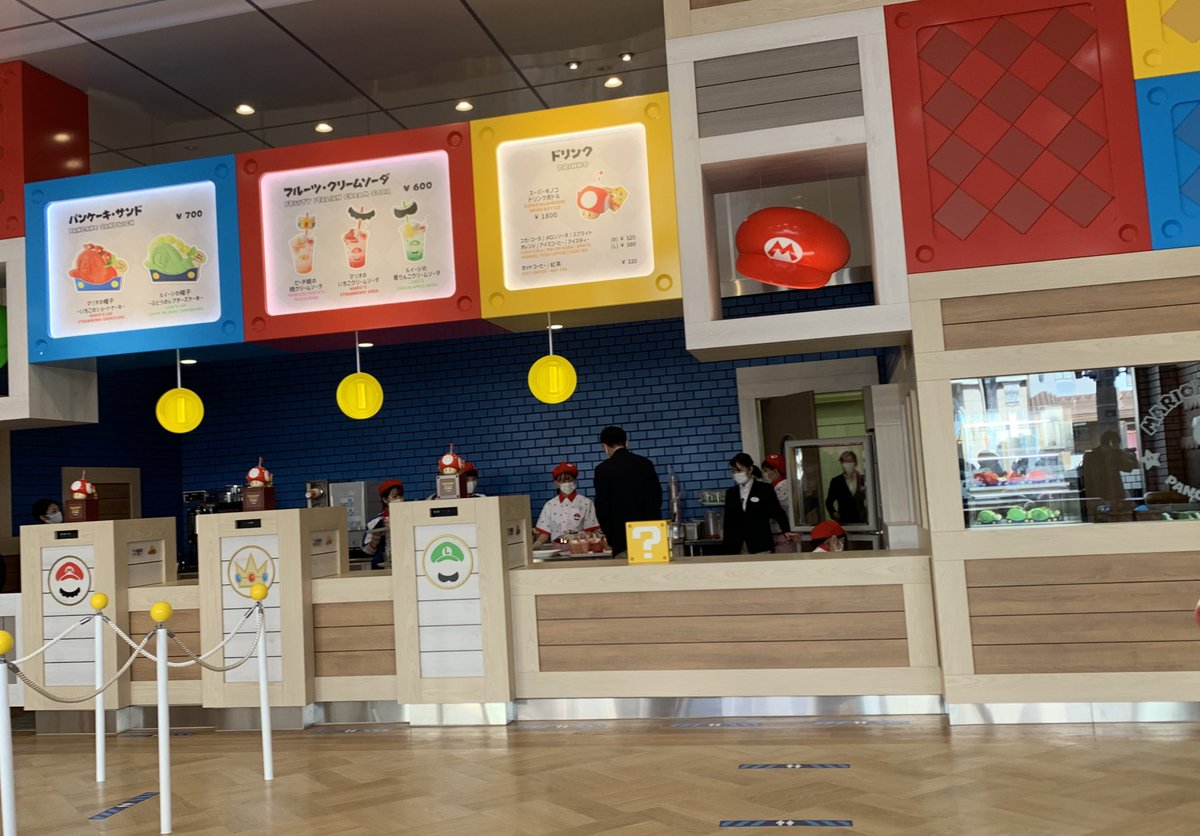 EkVJE JVoAAphib - USJのマリオカフェ公開 パンケーキサンド700円、クリームソーダ600円